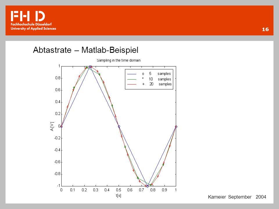 Abtastrate – Matlab-Beispiel