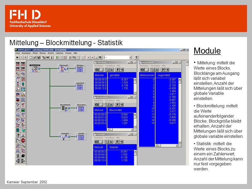 Module Mittelung – Blockmittelung - Statistik