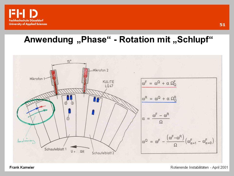 """Anwendung """"Phase - Rotation mit """"Schlupf"""