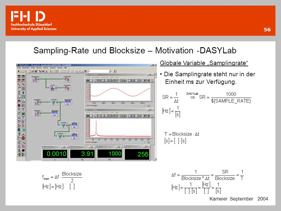 Sampling-Rate und Blocksize – Motivation -DASYLab
