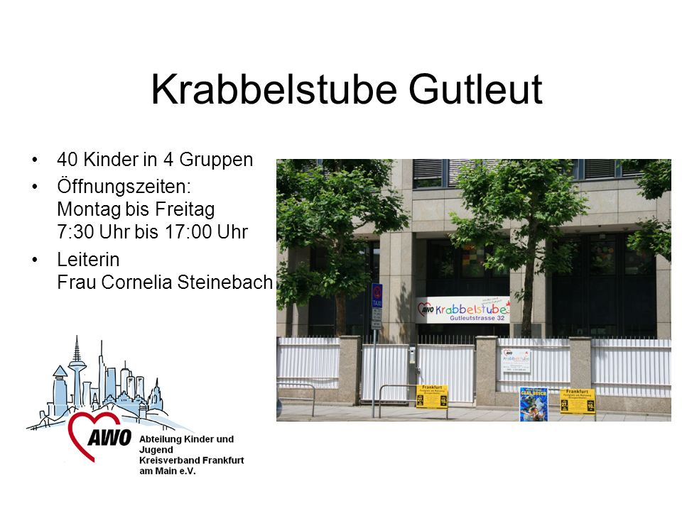 Krabbelstube Gutleut 40 Kinder in 4 Gruppen