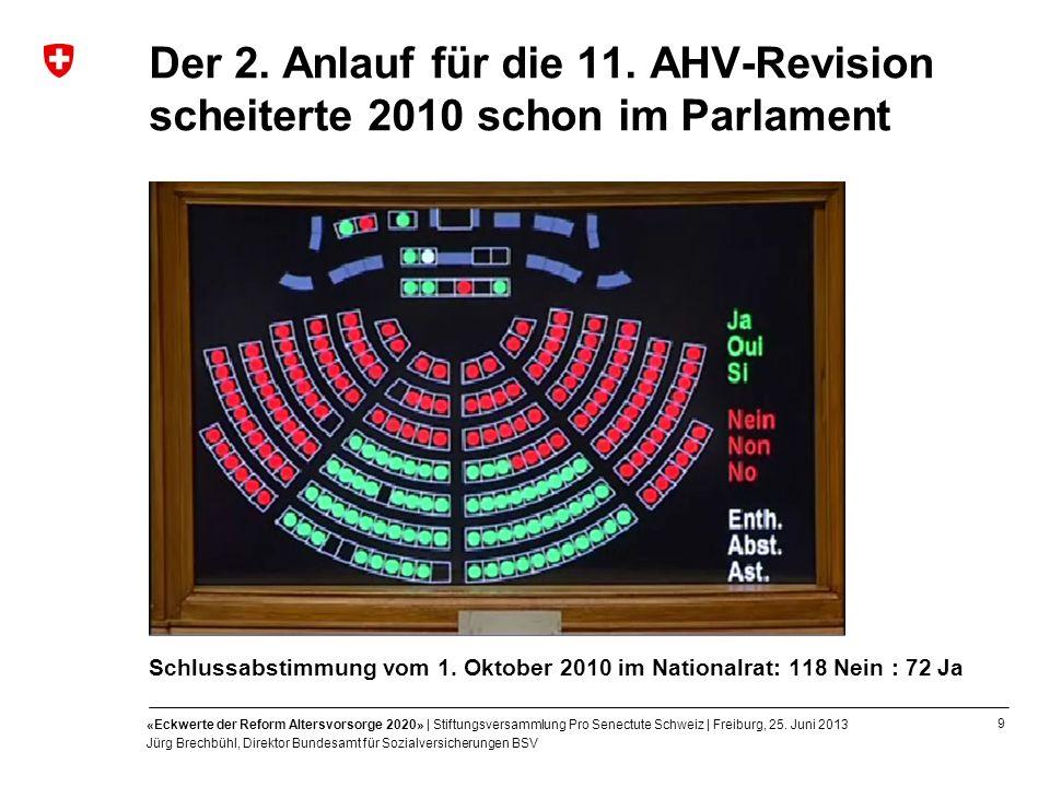 Der 2. Anlauf für die 11. AHV-Revision scheiterte 2010 schon im Parlament