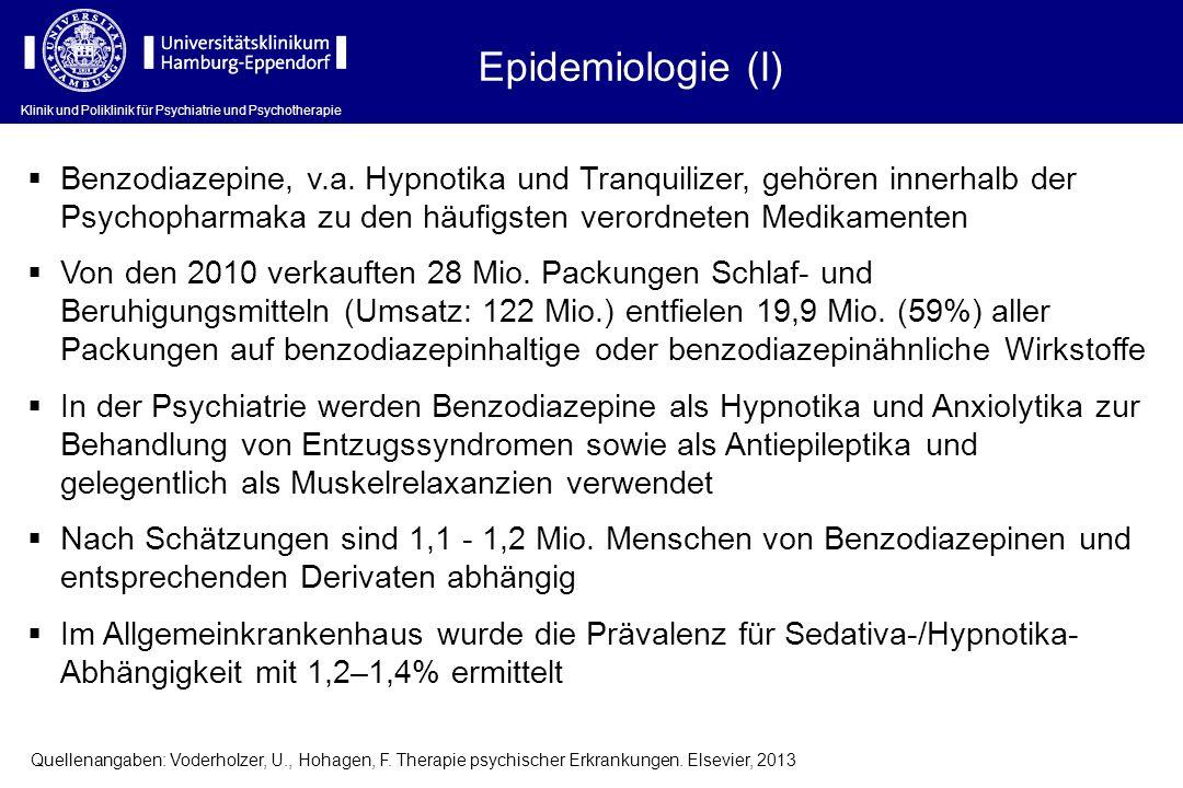 Epidemiologie (I) Benzodiazepine, v.a. Hypnotika und Tranquilizer, gehören innerhalb der Psychopharmaka zu den häufigsten verordneten Medikamenten.