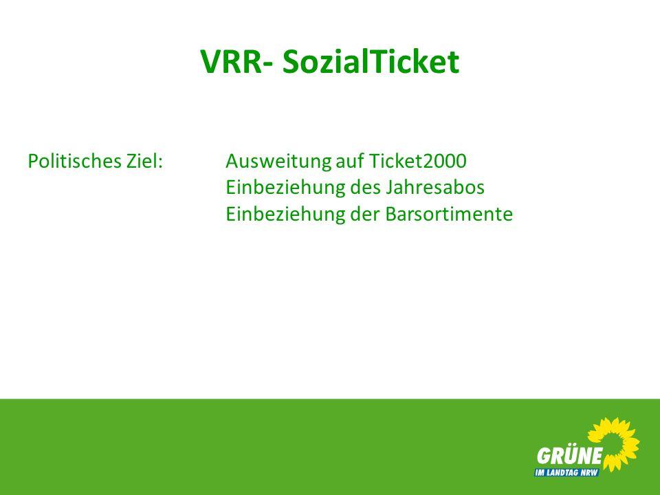 VRR- SozialTicket Politisches Ziel: Ausweitung auf Ticket2000 Einbeziehung des Jahresabos Einbeziehung der Barsortimente.