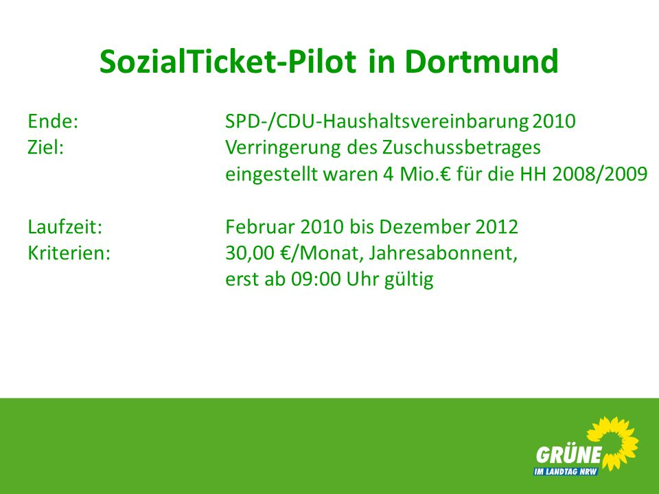 SozialTicket-Pilot in Dortmund