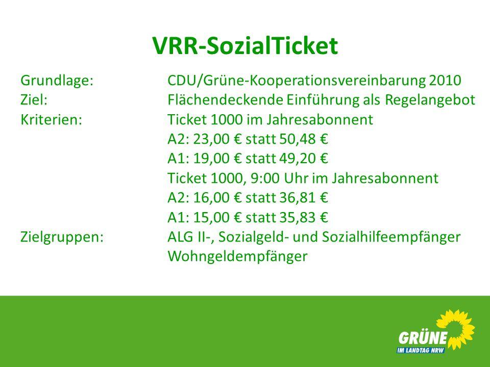 VRR-SozialTicket Grundlage: CDU/Grüne-Kooperationsvereinbarung 2010 Ziel: Flächendeckende Einführung als Regelangebot.