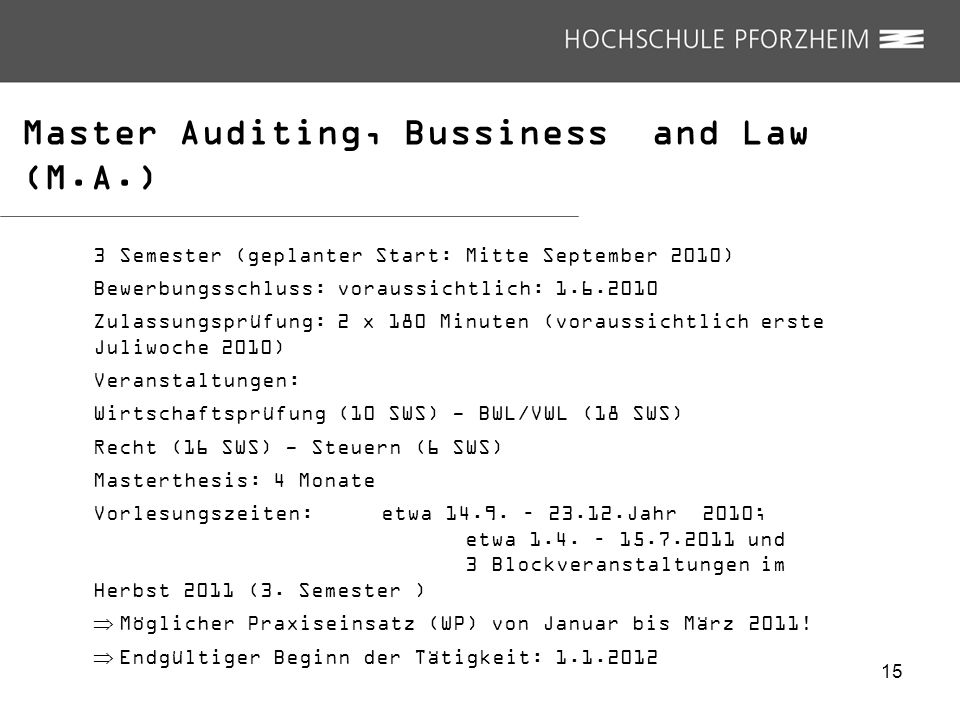 Master Auditing, Bussiness and Law (M.A.)