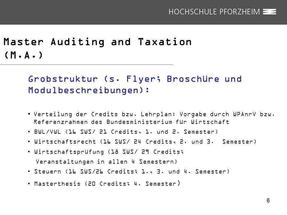 Master Auditing and Taxation (M.A.)