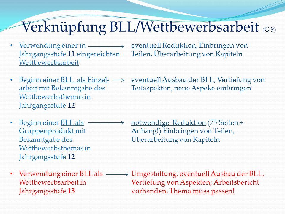 Verknüpfung BLL/Wettbewerbsarbeit (G 9)