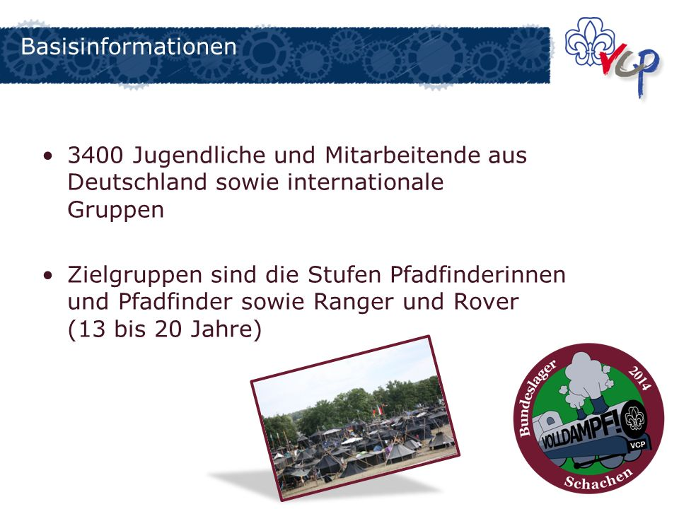 Basisinformationen 3400 Jugendliche und Mitarbeitende aus Deutschland sowie internationale Gruppen.