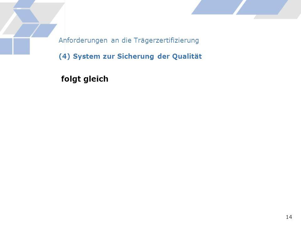 Anforderungen an die Trägerzertifizierung (4) System zur Sicherung der Qualität