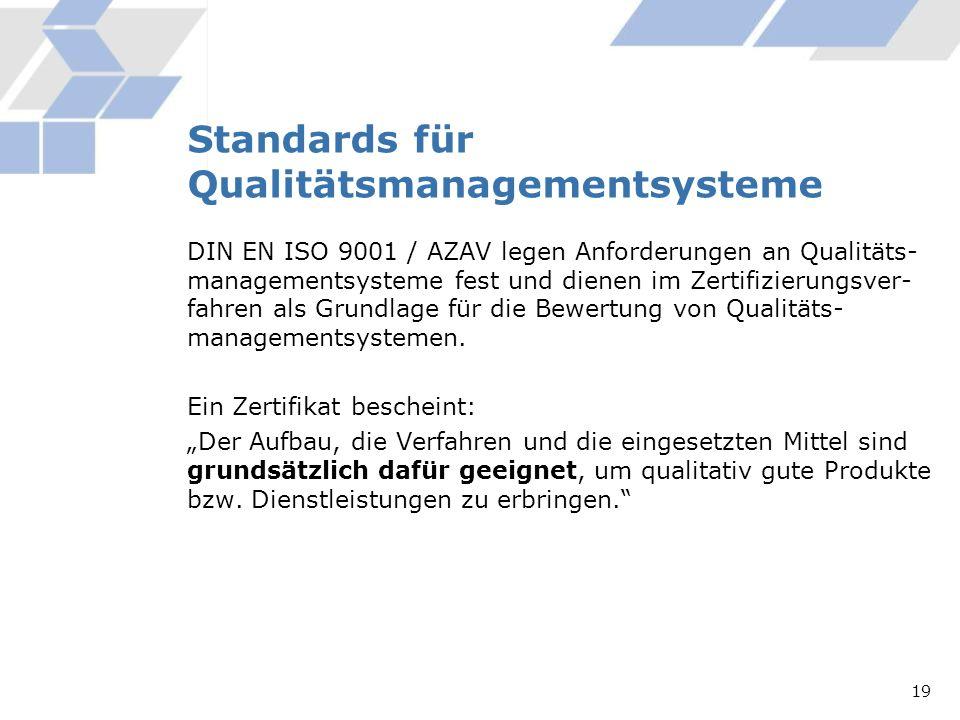 Standards für Qualitätsmanagementsysteme