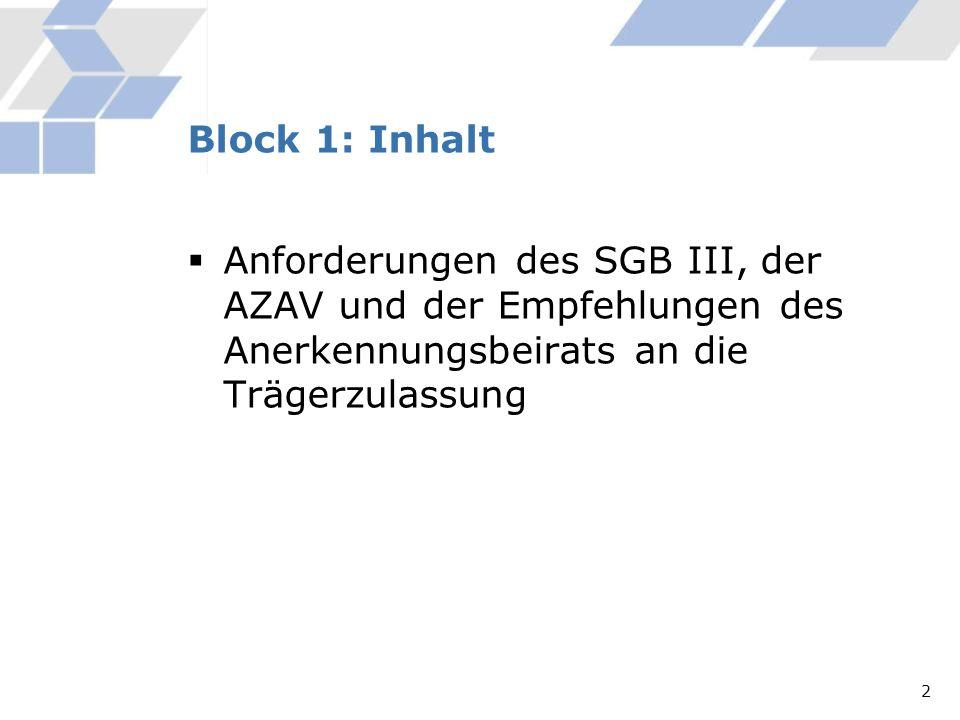 Block 1: Inhalt Anforderungen des SGB III, der AZAV und der Empfehlungen des Anerkennungsbeirats an die Trägerzulassung.