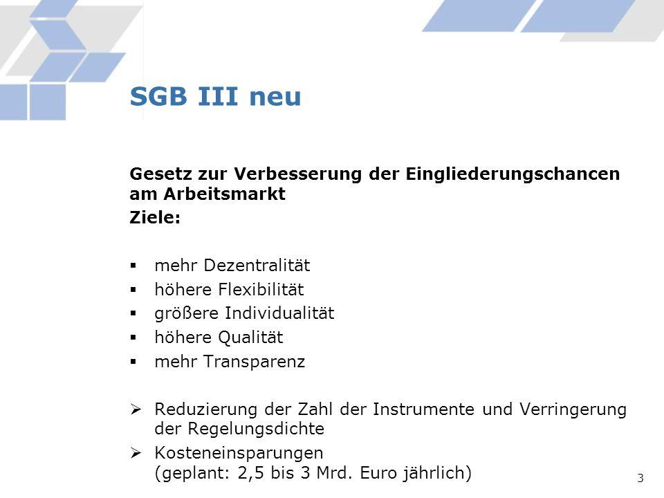 SGB III neu Gesetz zur Verbesserung der Eingliederungschancen am Arbeitsmarkt. Ziele: mehr Dezentralität.