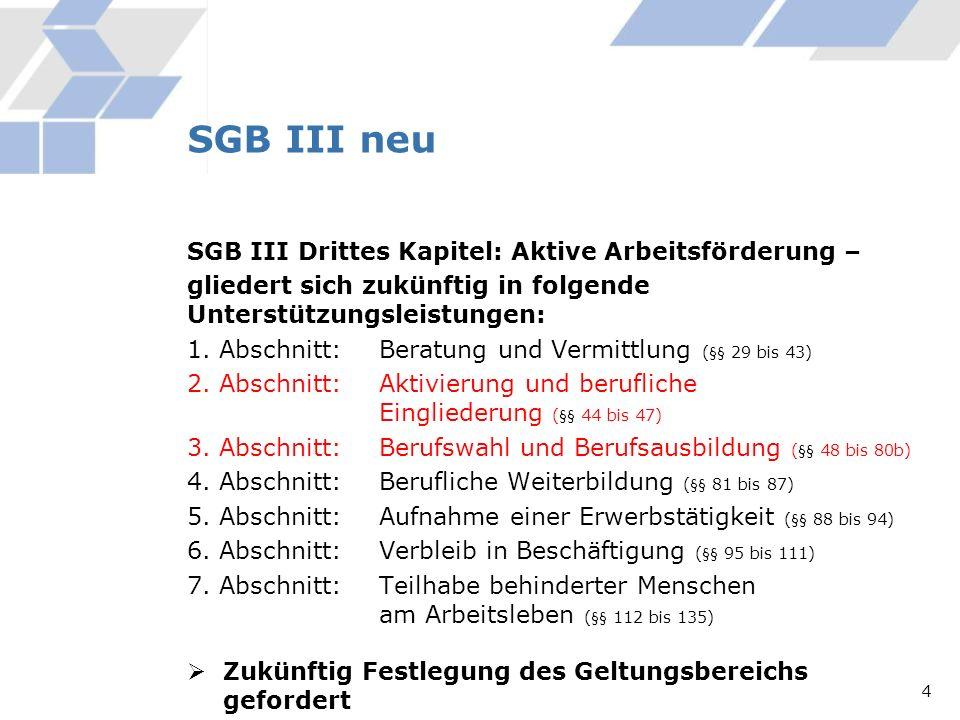 SGB III neu SGB III Drittes Kapitel: Aktive Arbeitsförderung –