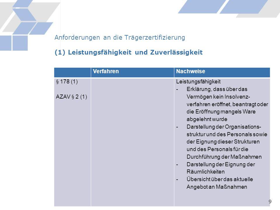 Verfahren Nachweise § 8 Abs. 4 (1)