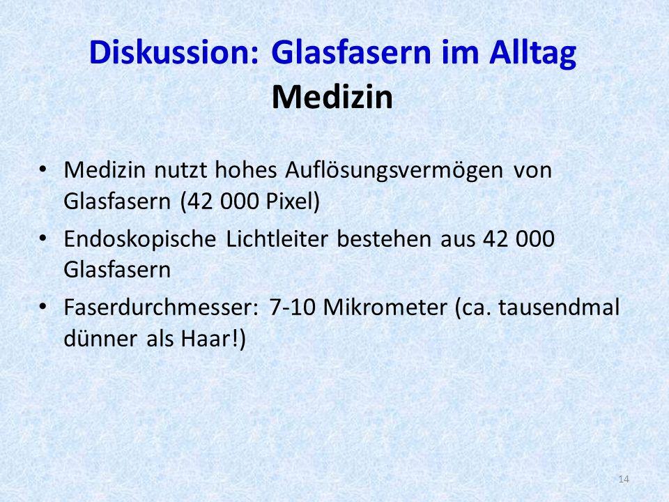 Diskussion: Glasfasern im Alltag Medizin