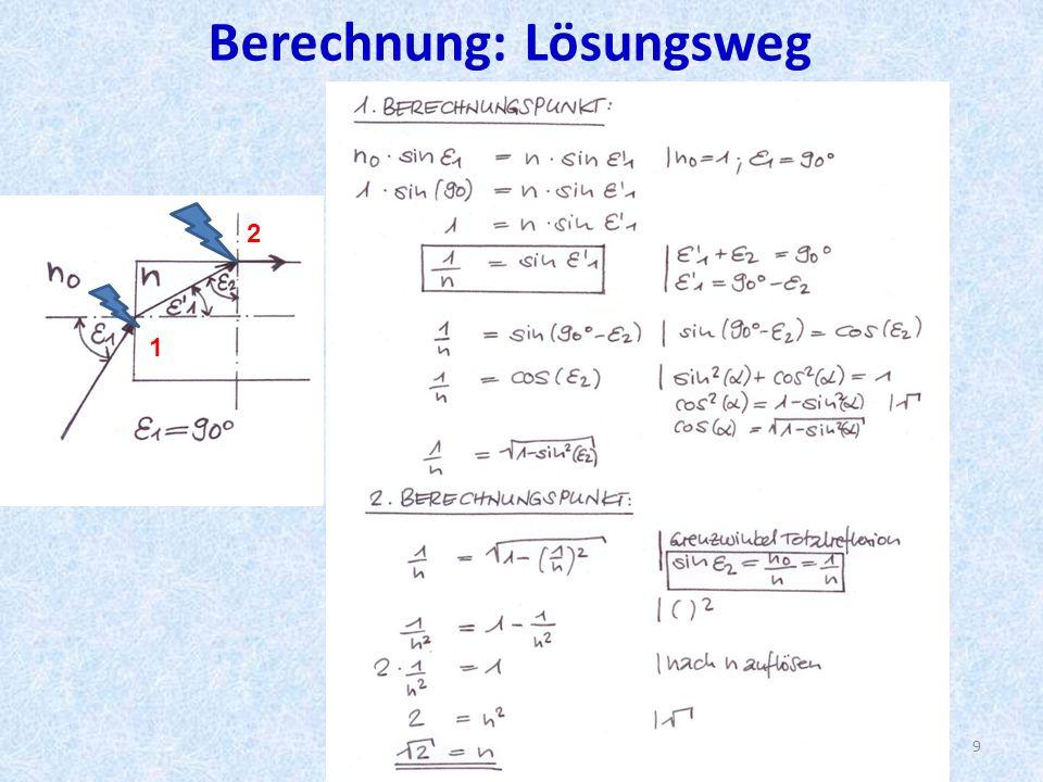 Berechnung: Lösungsweg