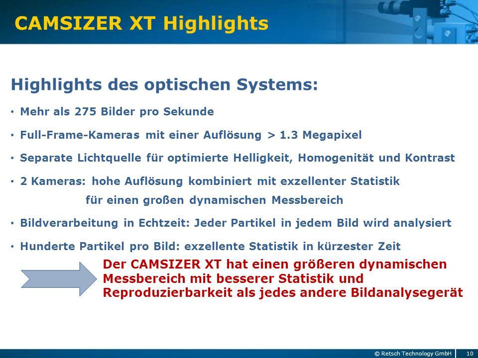CAMSIZER XT Highlights
