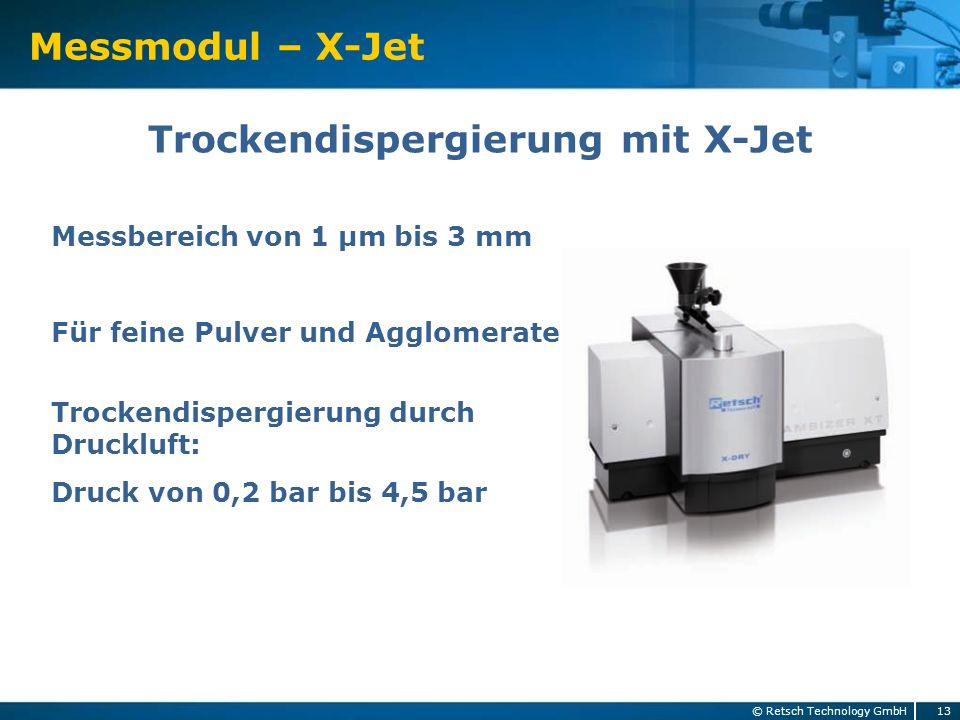 Trockendispergierung mit X-Jet