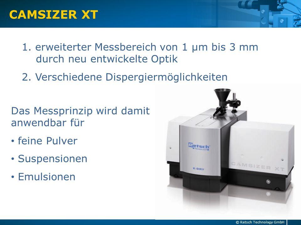 CAMSIZER XT 1. erweiterter Messbereich von 1 µm bis 3 mm durch neu entwickelte Optik. 2. Verschiedene Dispergiermöglichkeiten.