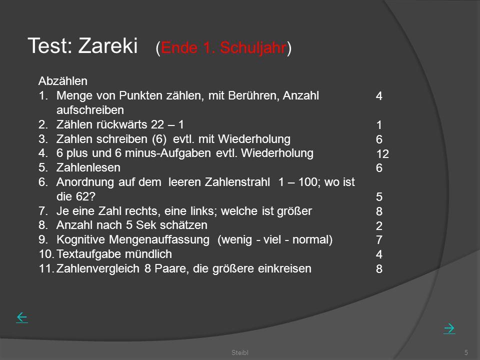Test: Zareki (Ende 1. Schuljahr)