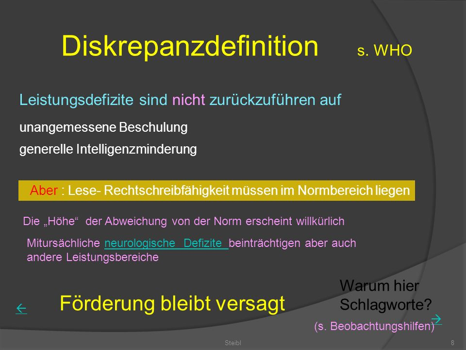 Diskrepanzdefinition s. WHO