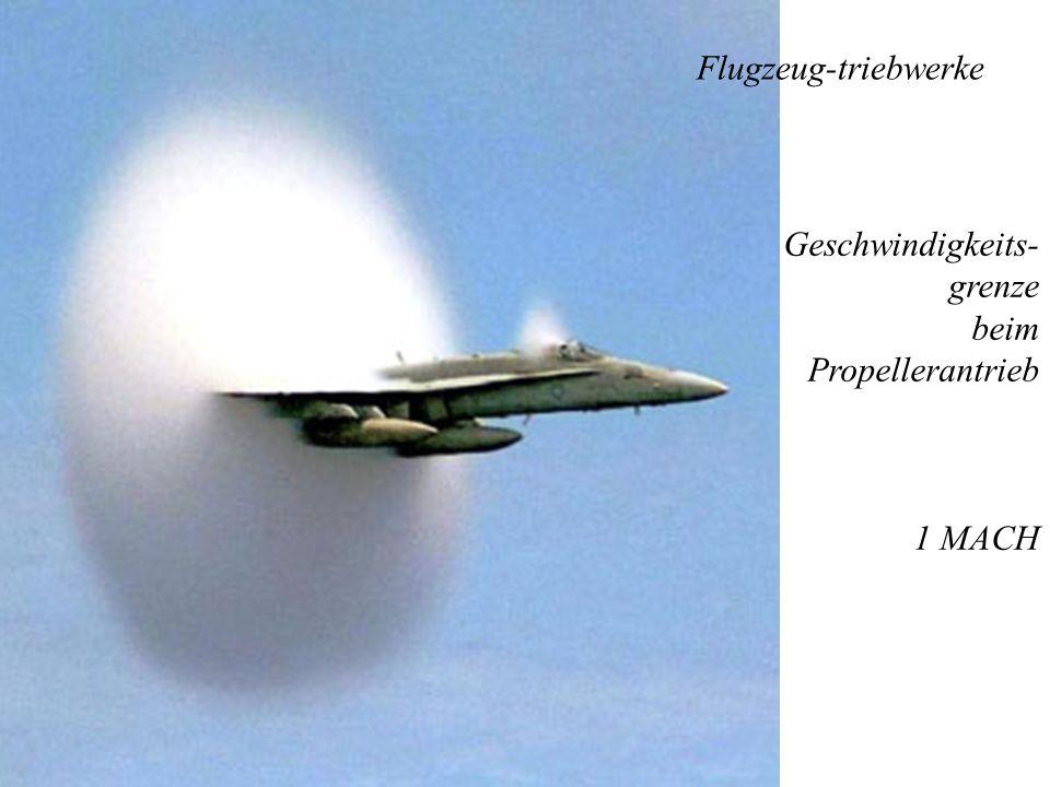 Flugzeug-triebwerke Geschwindigkeits-grenze beim Propellerantrieb 1 MACH