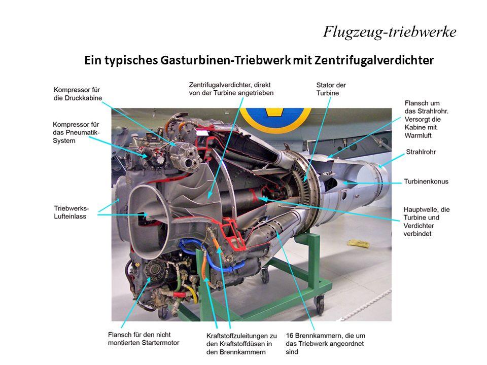 Flugzeug-triebwerke Ein typisches Gasturbinen-Triebwerk mit Zentrifugalverdichter