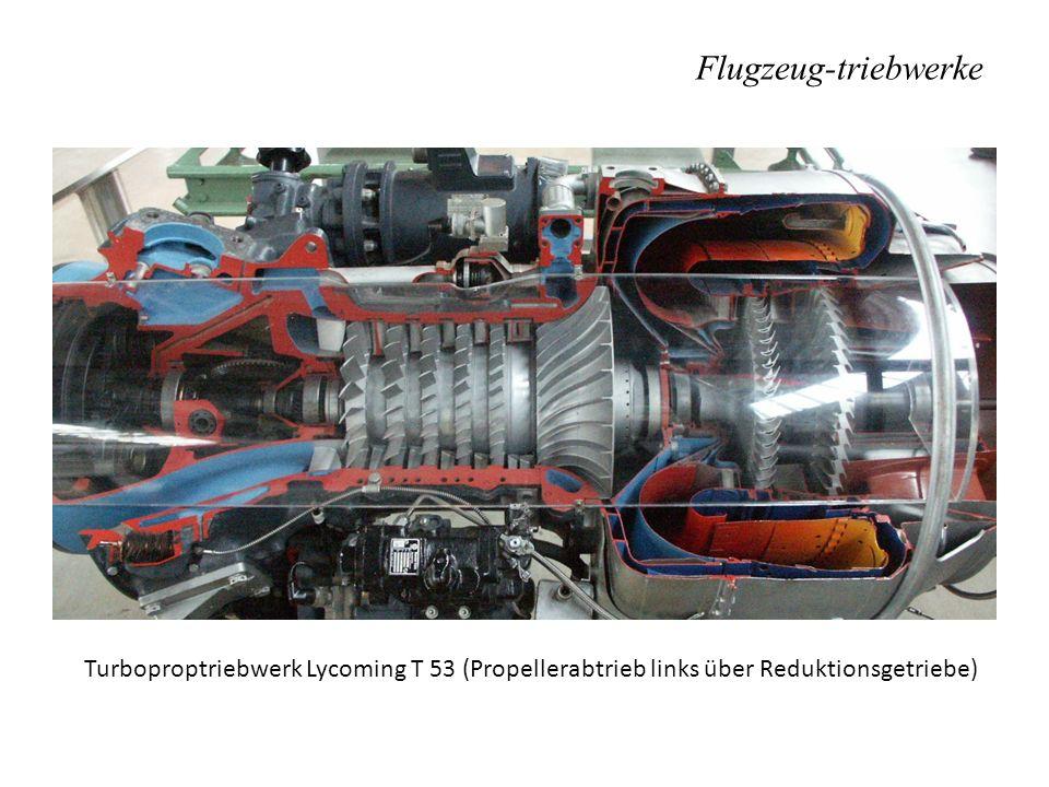 Flugzeug-triebwerke Turboproptriebwerk Lycoming T 53 (Propellerabtrieb links über Reduktionsgetriebe)