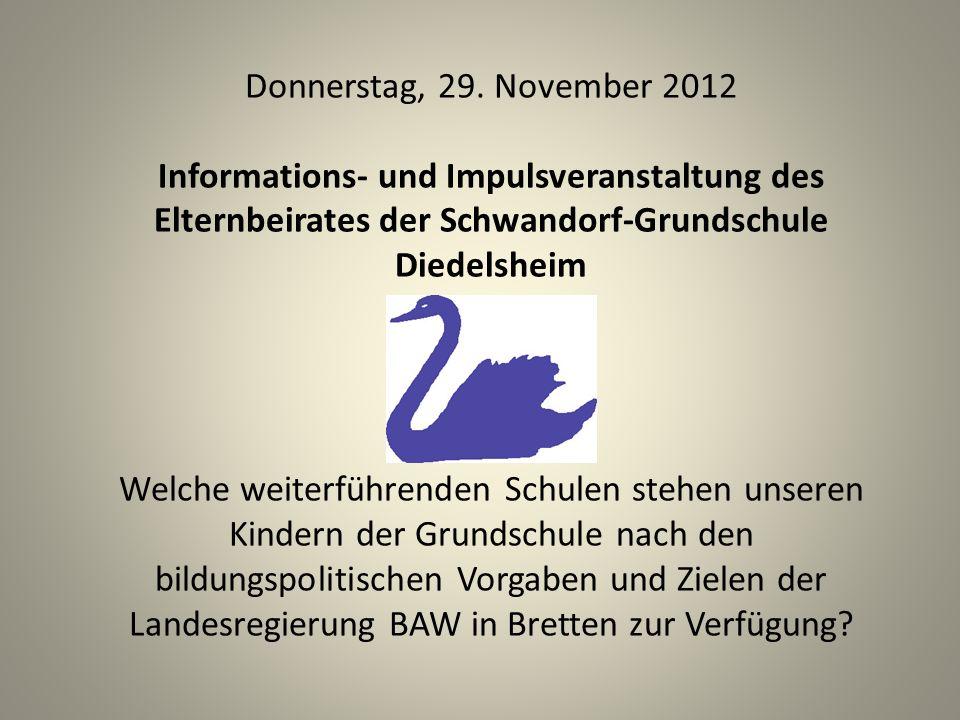 Donnerstag, 29. November 2012 Informations- und Impulsveranstaltung des Elternbeirates der Schwandorf-Grundschule Diedelsheim.