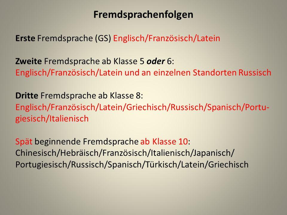 Fremdsprachenfolgen Erste Fremdsprache (GS) Englisch/Französisch/Latein.