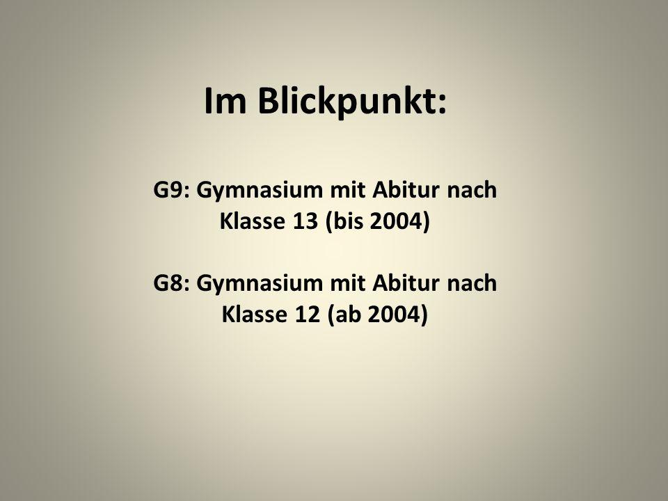 Im Blickpunkt: G9: Gymnasium mit Abitur nach Klasse 13 (bis 2004)