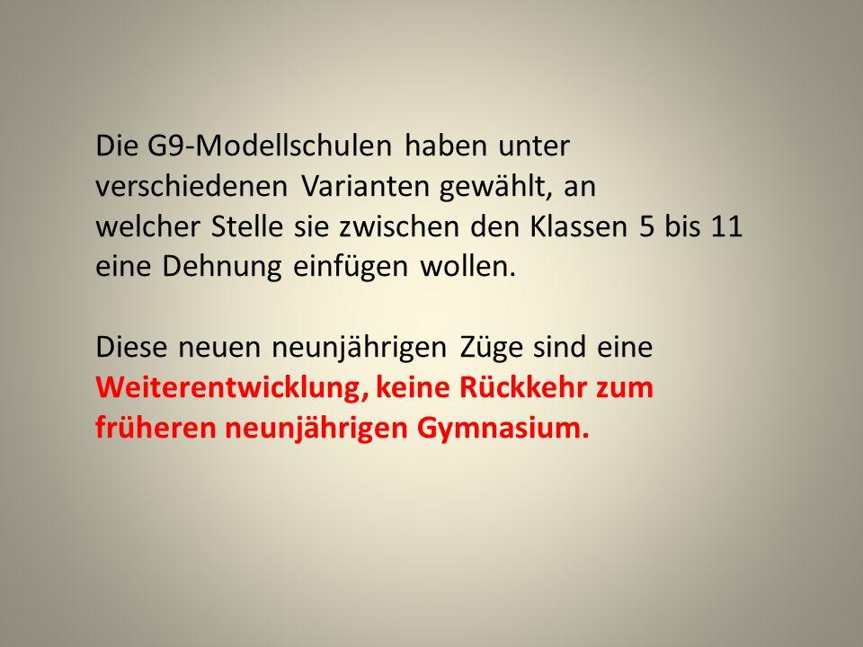 Die G9-Modellschulen haben unter verschiedenen Varianten gewählt, an