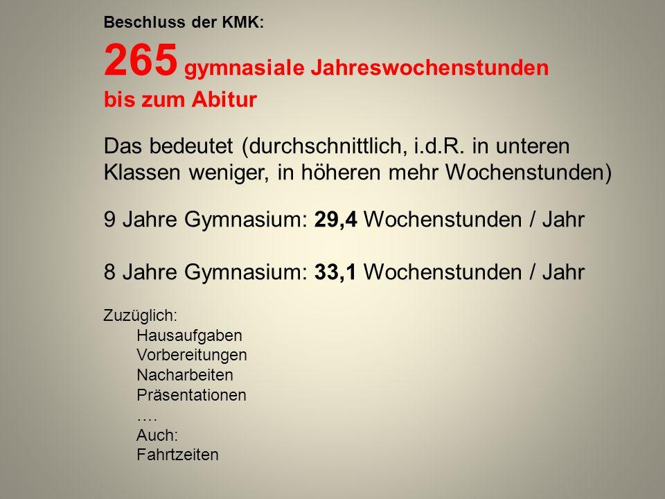 265 gymnasiale Jahreswochenstunden bis zum Abitur