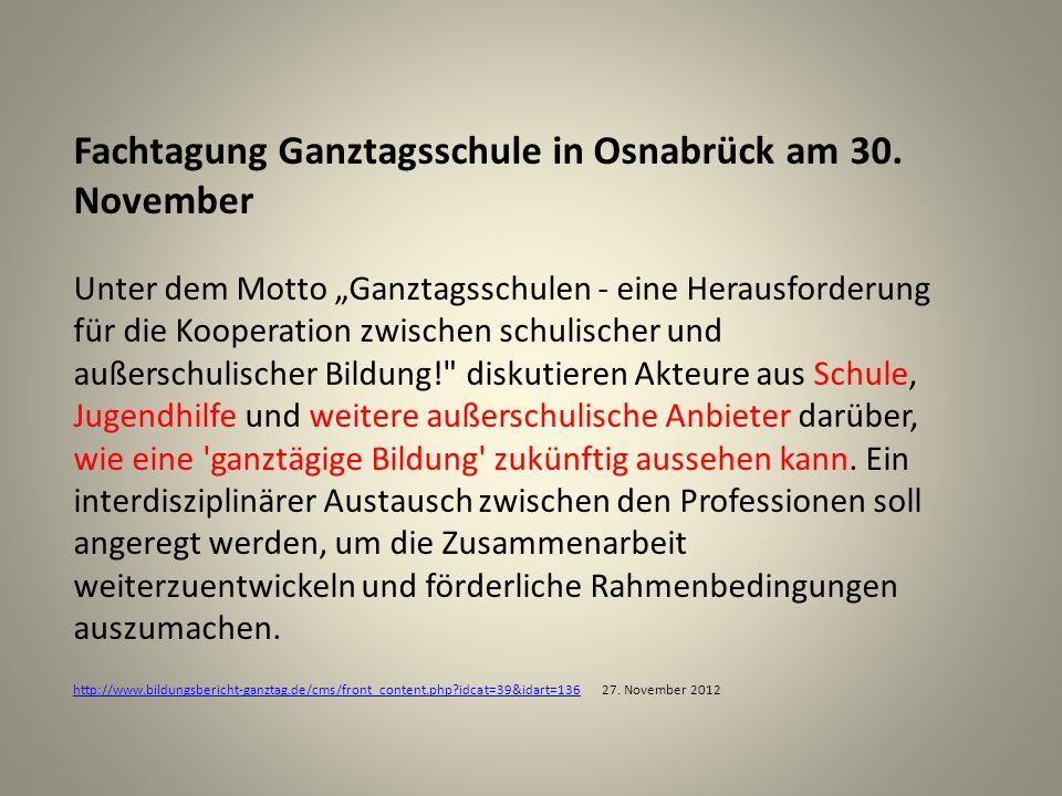 Fachtagung Ganztagsschule in Osnabrück am 30. November