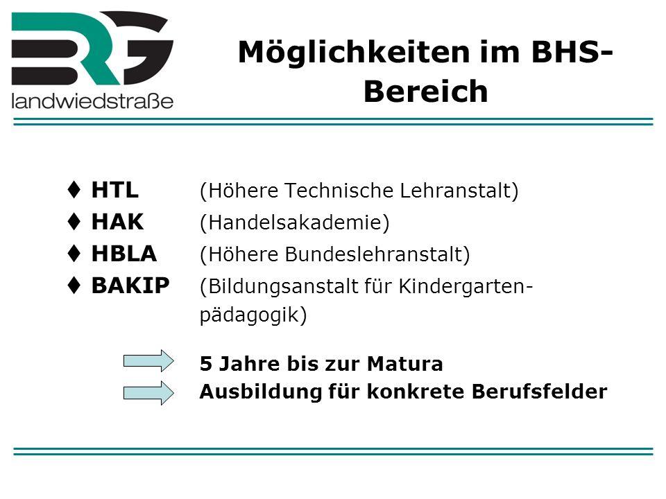 Möglichkeiten im BHS-Bereich