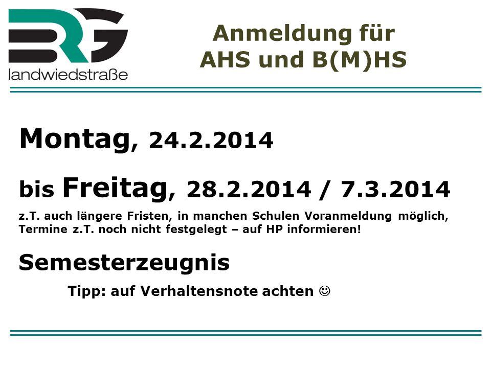 Anmeldung für AHS und B(M)HS