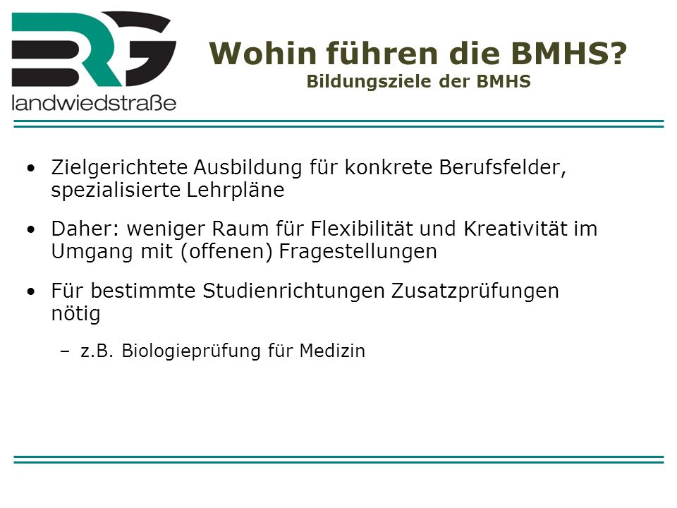 Wohin führen die BMHS Bildungsziele der BMHS