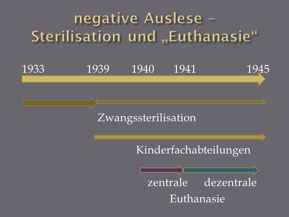 """negative Auslese – Sterilisation und """"Euthanasie"""