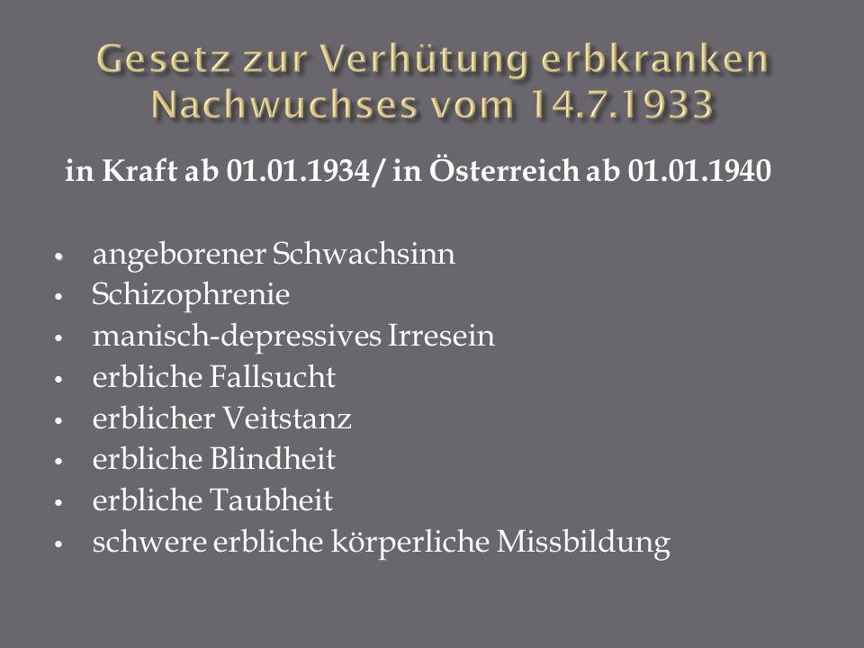 Gesetz zur Verhütung erbkranken Nachwuchses vom 14.7.1933