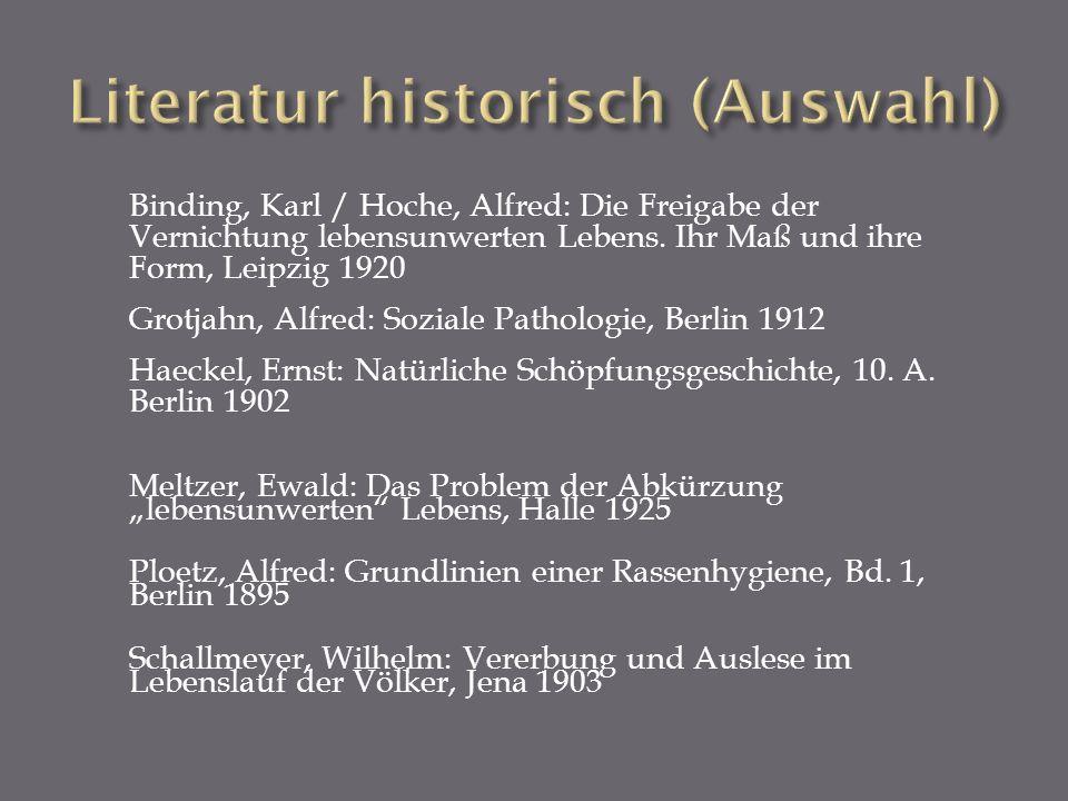Literatur historisch (Auswahl)