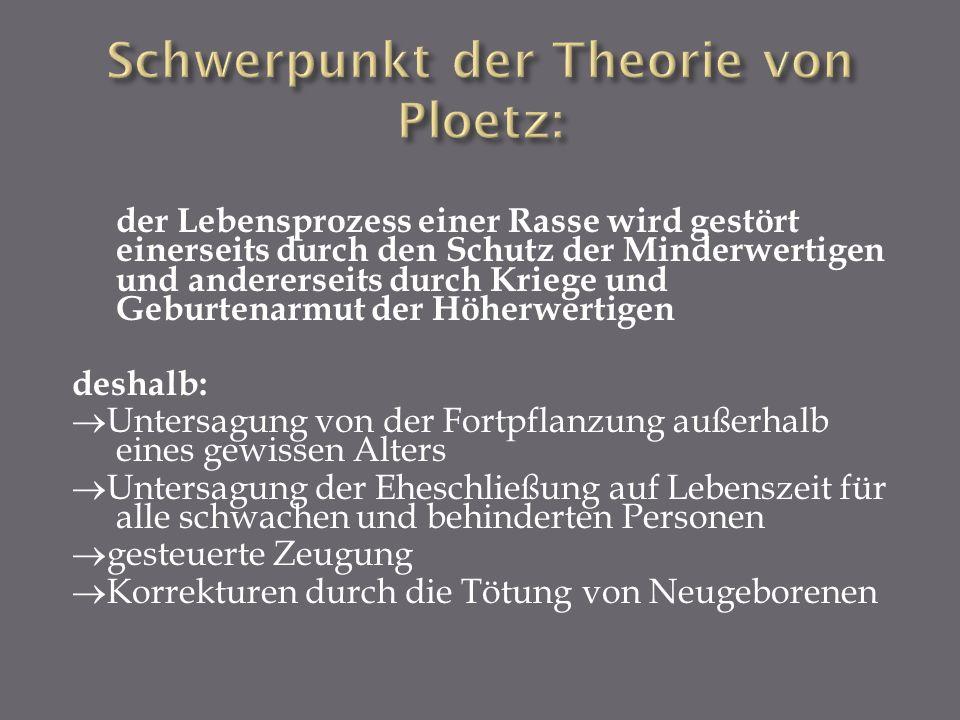 Schwerpunkt der Theorie von Ploetz: