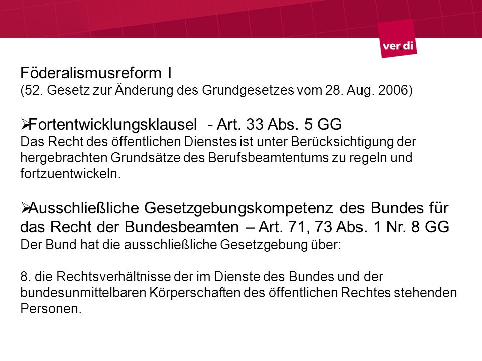 Föderalismusreform I (52. Gesetz zur Änderung des Grundgesetzes vom 28