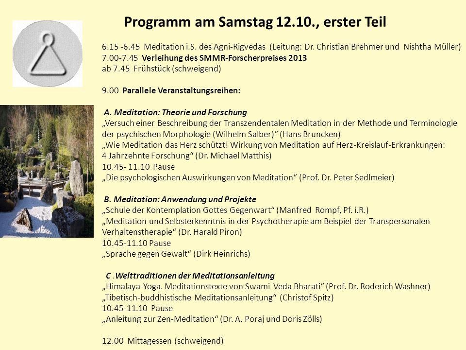 Programm am Samstag 12.10., erster Teil