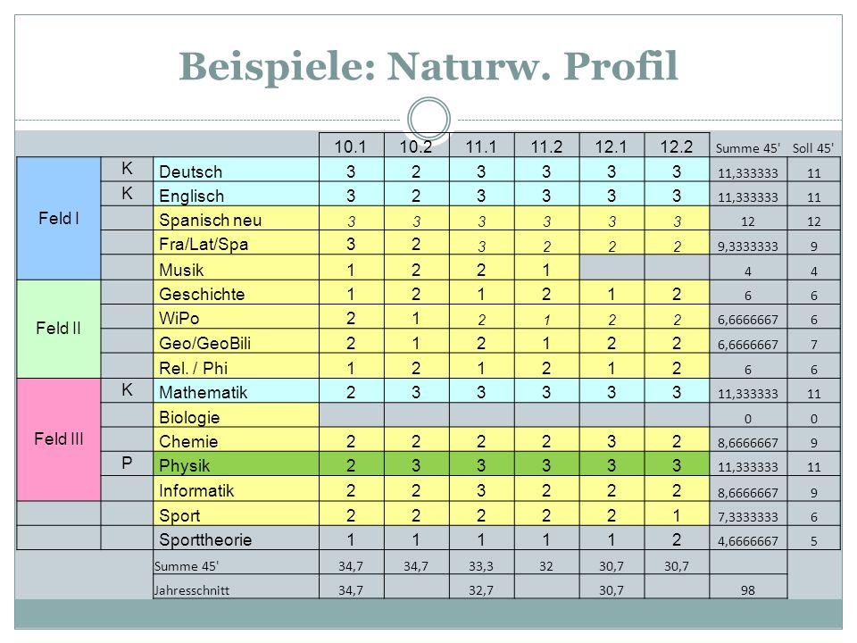 Beispiele: Naturw. Profil