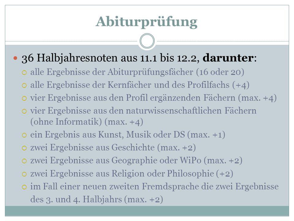 Abiturprüfung 36 Halbjahresnoten aus 11.1 bis 12.2, darunter: