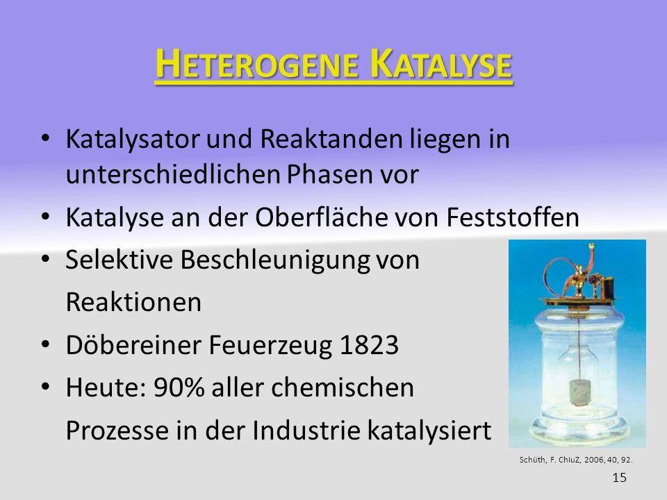 Heterogene Katalyse Katalysator und Reaktanden liegen in unterschiedlichen Phasen vor. Katalyse an der Oberfläche von Feststoffen.