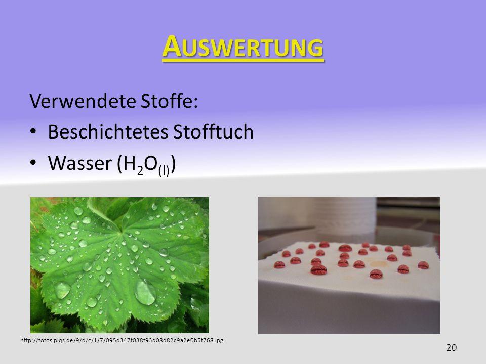 Auswertung Verwendete Stoffe: Beschichtetes Stofftuch Wasser (H2O(l))