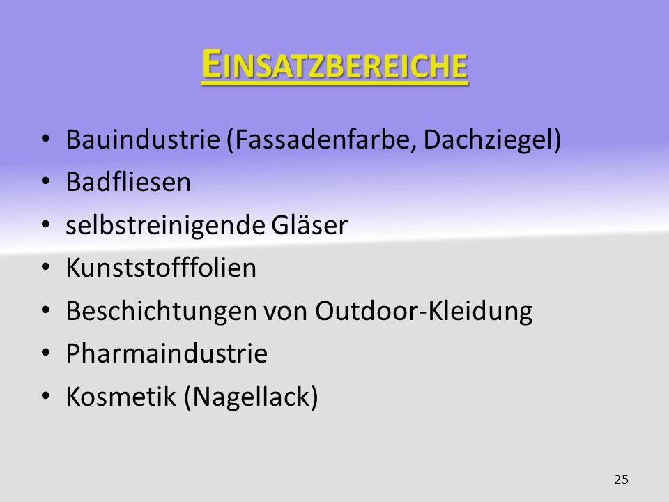 Einsatzbereiche Bauindustrie (Fassadenfarbe, Dachziegel) Badfliesen